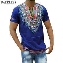 Camiseta Dashiki azul hombre 2018 nuevo africano 3D estampado Slim Fit hombres camisetas Casual cuello en V manga corta hip Hop Camisetas 3XL