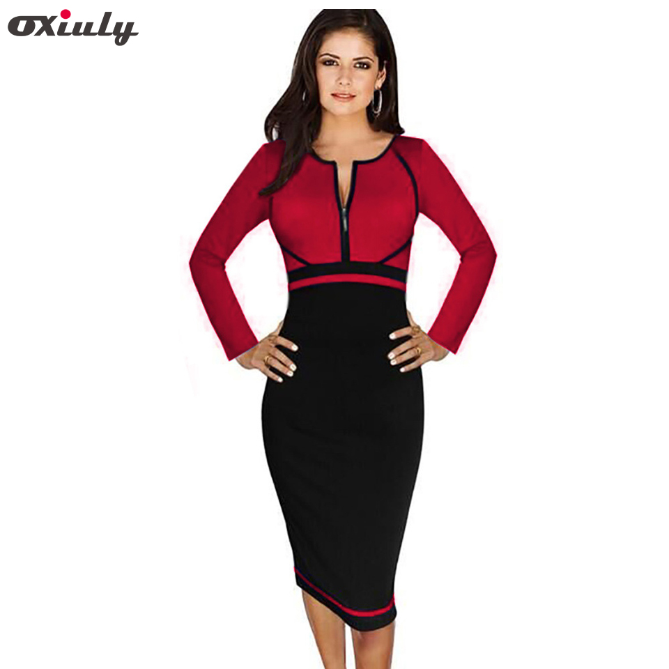 Oxiuly Womenu0026#39;s Patchwork Dresses Colorblock Front Zipper Wear To Work Business Casual Office ...