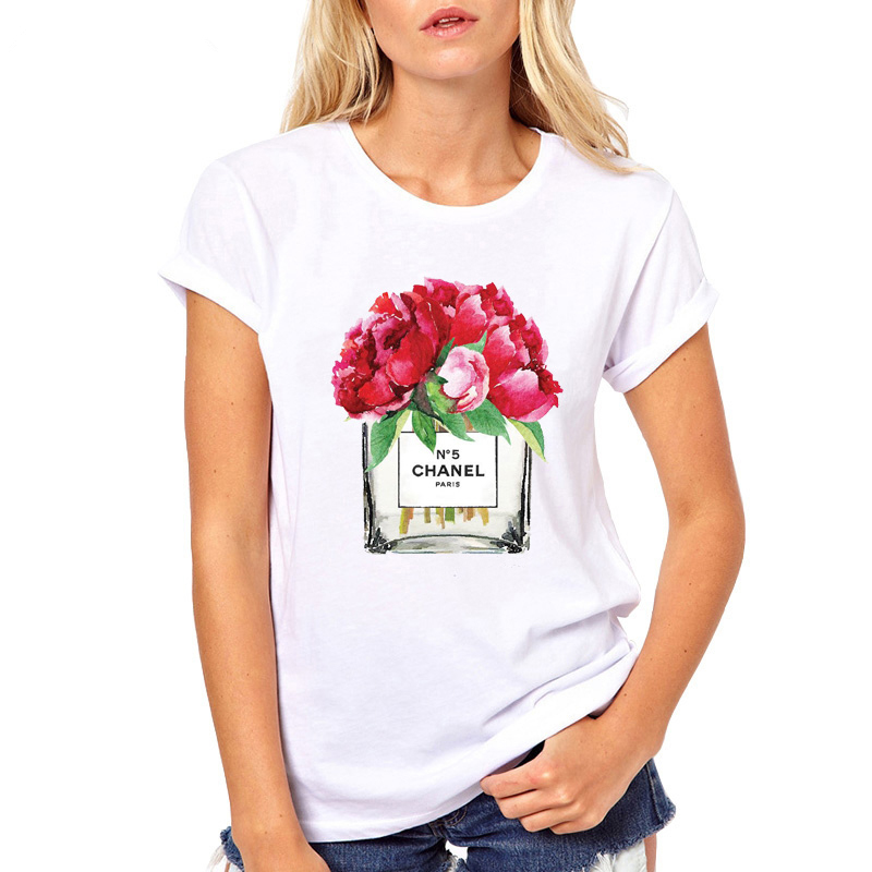 We are factory Perfume Flower Printed Elegant   T     Shirt   Fashion Classic New Tops Soft Tees womens clothingTop Quality tshirt 2019