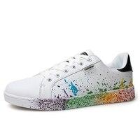 여자 브랜드 흰색 신발 혼합 색상 잉크 그림 스타일 여자 신발 Solorful 화이트 여성 신발 플러스 큰 크기 커플 신발