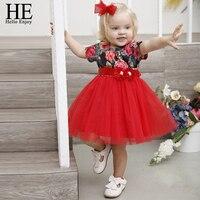 He Hola disfrute de los niños flor de la boda de la muchacha Niñas princesa party Pageant vestido formal vestido de fiesta niña del vestido del bebé cumpleaños rojo