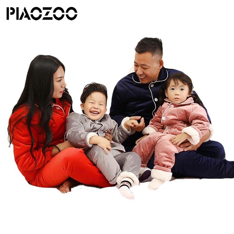 Top qualité hiver vêtements ensemble épais pyjamas filles point pijama garçon enfants famille pyjama ensembles coton correspondant famille tenue P20