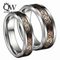QUEENWISH Vintage Rose Gold Celtic Dragon Tungsten Carbide Carbon Fiber Band Bridal Silver Ring Men Engagement Jewelry