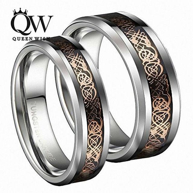QUEENWISH Vintage Rose Gold Celtic Dragon Tungsten Carbide Carbon Fiber Band Bridal Silver Ring Men Engagement