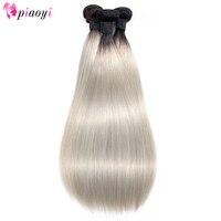 Brazilian Straight Hair Bundles T1B/Grey Colors Ombre Human Hair Weave Bundles Remy Extensions