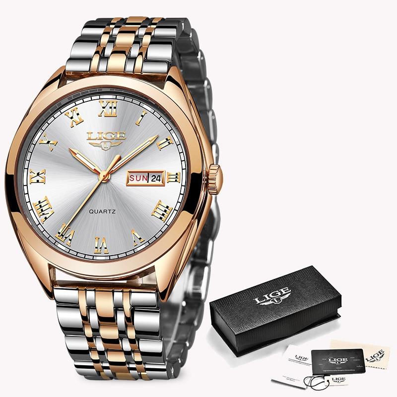 LIGE Fashion Women Watches Ladies Top Brand luxury Waterproof Gold Quartz Watch Women Stainless Steel Date Wear Gift Clock 2019 7