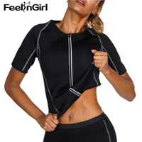 FeelinGirl Reflective Zipper Breathable Weight Loss Top Slim Women Neoprene Body Shaper Sauna Sweat Vest Workout Shapewear