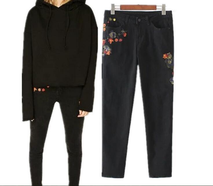 Black Color Denim Jeans Pants 2017 Newest Female High Waist Floral Embroidery Pencil Pant Jeans Women