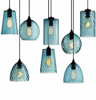 American restaurant chandelier bar light simple personality Nordic bar single head blue glass chandelier