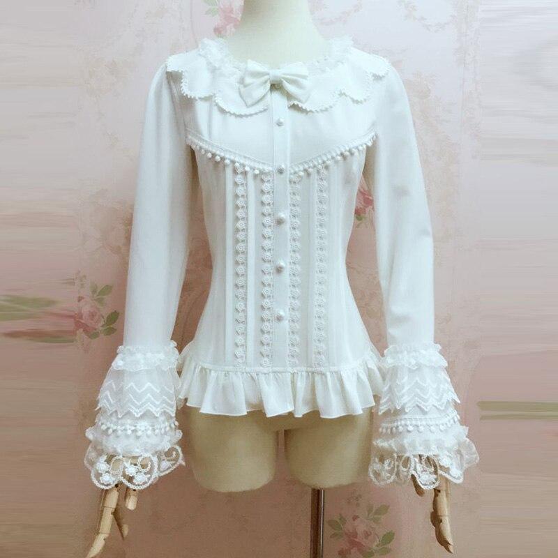Chemisier Lolita à manches évasées en dentelle à col rond blanc chemise gothique douce femmes Chemisiers et Blouses Vintage Femme Camiseta Mujer