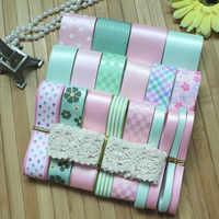 NEW STYLE! HIGH QUALITY DIY ribbon set pink/light green color mix beauty ribbon set(total 24 yards)