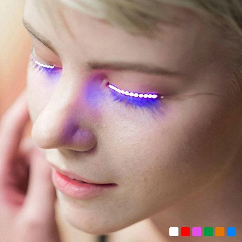 1 par de luz led cílios postiços à prova dunisex água unisex brilhando encantadores cílios maquiagem cílios postiços para festa clube barra dia das bruxas
