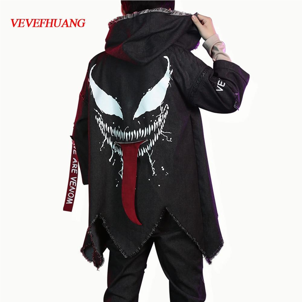 VEVEFHUANG Movie Venom Cosplay Costumes Superhero Black Windbreaker Jackets Coat Pants For Men Boys Party Stage Halloween Clothe