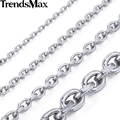 Trendsmax 2.5/3/4/6/8/10mm Mens Chain Silver Color Stainless Steel Oval Necklace Top quality Fashion Jewelry KNM31