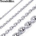 Trendsmax 2.5/3/4/6/8/10mm mens cadena ovalada de acero inoxidable color plata collar de la joyería de moda de calidad superior knm31