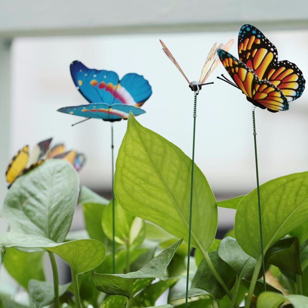 15PCS/Lot Artificial Butterfly Garden <font><b>Decorations</b></font> Simulation Butterfly Stakes Yard Plant Lawn Decor Fake Butterefly Random Color