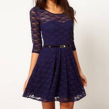 Elegant Lace Crochet Feminino Patchwork Half Sleeve Dress with Belt O-neck Vestidos de festa Plus Size S -XL