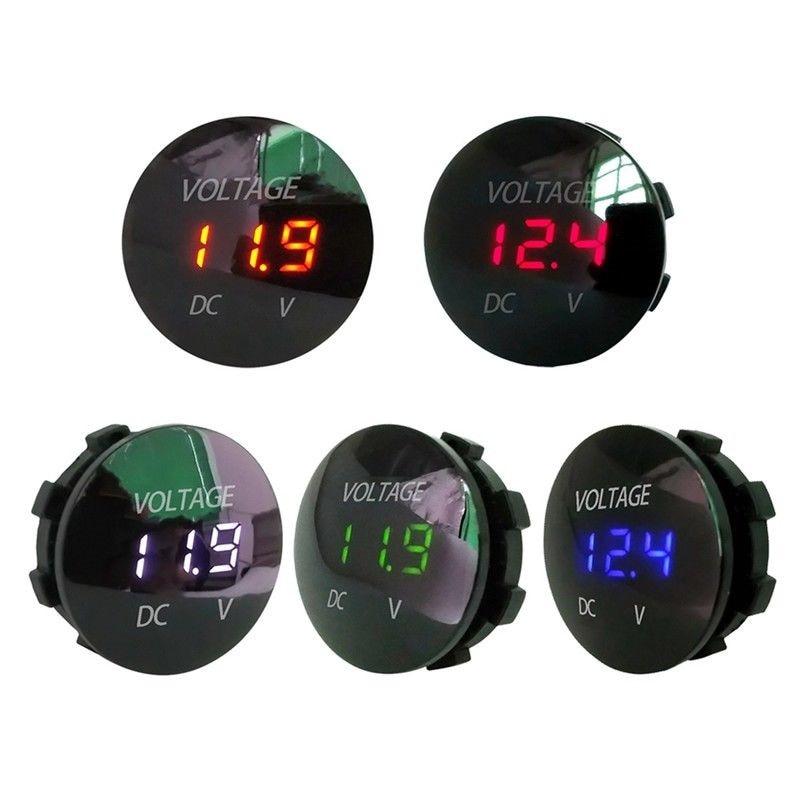 Hiyork Car Motorcycle DC 12V- 24V LED Panel Digital Voltage Meter Display Voltmeter Waterproof Gauge For Auto Boat ATV UTV