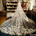 New Design 3 D flower  Appliques 1 T  Cathedral  veil Long Lace Edge Purfles Black Bridal Wedding Veils Mantilla With Comb