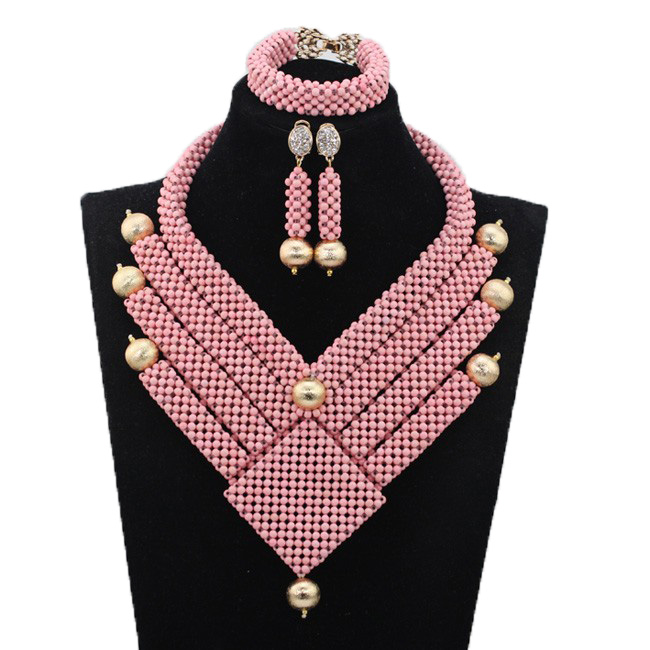 Gorgeous Pink African Bridal Bib Statement Necklace Set Nigerian Dubai Gold Bridal Party Jewellery Set New Free Shipping QW477Gorgeous Pink African Bridal Bib Statement Necklace Set Nigerian Dubai Gold Bridal Party Jewellery Set New Free Shipping QW477