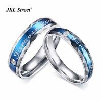 2ชิ้น/ล็อตอินเทรนด์Forever Loveแหวนชุดสูงขัดสแตนเลสสีฟ้าชุบแผลด้านคนรักแหวนชุดSFC071
