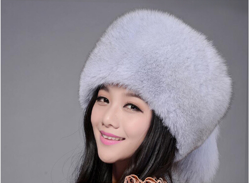Fur hat for women natural from fox fox fur Russian Winter hats thick warm ears fashion