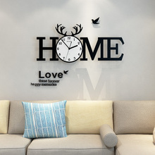 MEISD Deer Antlers Alphabet HOME Large Wall Clock Modern Design Clocks With Stickers 12 Photo Frames Living Room Home Decor