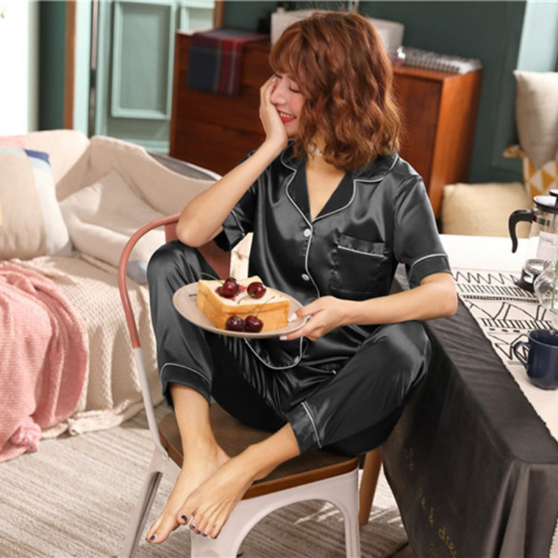 2019 New Women's Lapel Short-sleeved Trousers Plus Fertilizer To Increase The Simulation Silk Home Service Pajamas Set