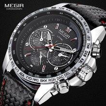 Megir Mode Lichtgevende Quartz Horloge Man Casual Leer Merk Horloges Mannen Analoog Waterdicht Horloge Voor Mannelijke Hot Uur 1010