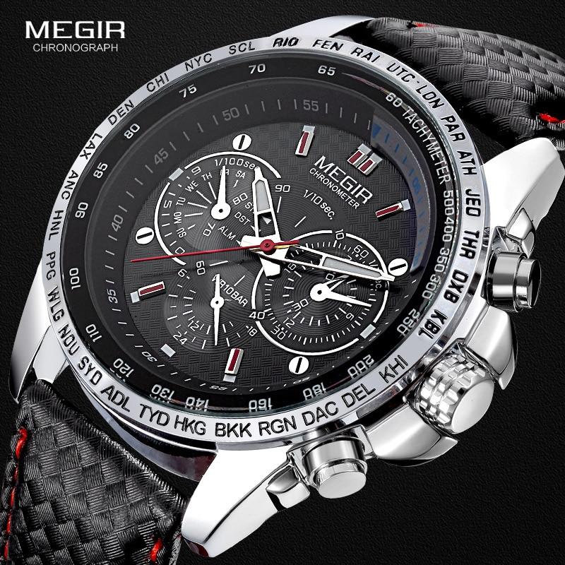 Megir Fashion Luminous Quartz Watch Man Casual Leather Brand Watches Men Analog Waterproof Wristwatch For Male Hot Hour 1010