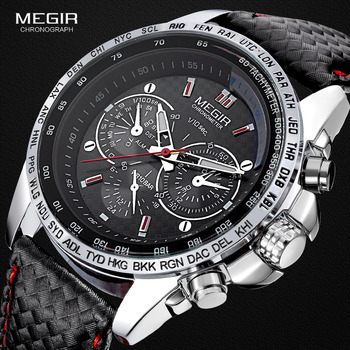 Megir fashion luminous quartz watch man casual leather brand watches men analog waterproof wristwatch for male hot hour 1010 Accessories Jewellery & Watches