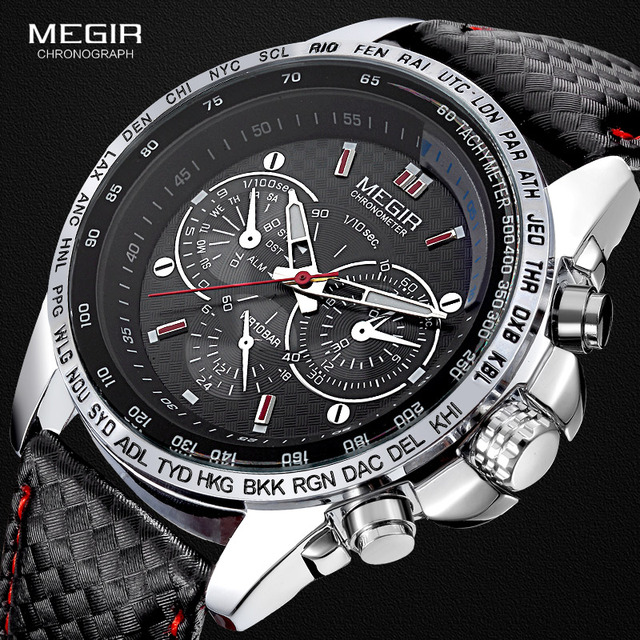 Megir moda aydınlık quartz saat adam rahat deri marka saatler erkekler analog su geçirmez kol saati erkek sıcak saat 1010
