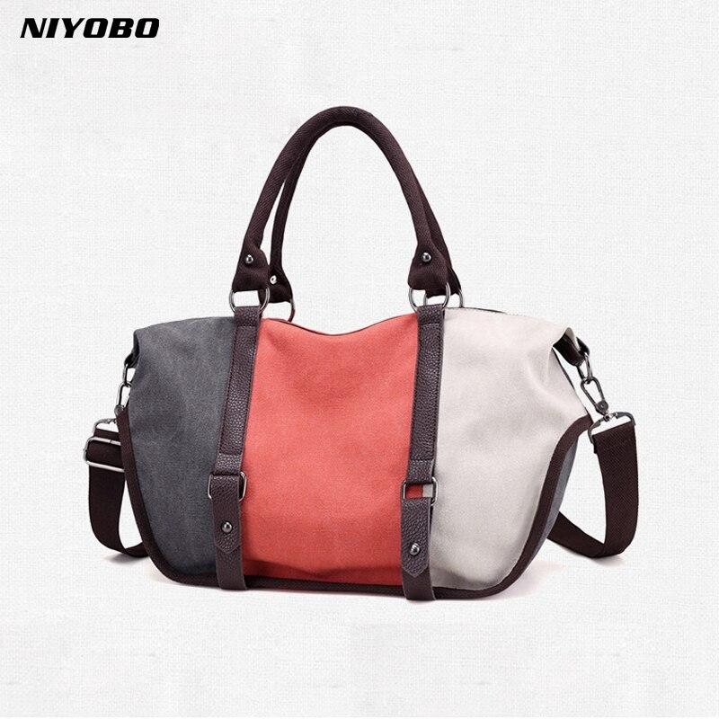 NIYOBO Canvas Striped Women Handbags Patchwork Hobos Bag Women Shoulder Tote Bags Crossbody Bag Bolsa Feminina