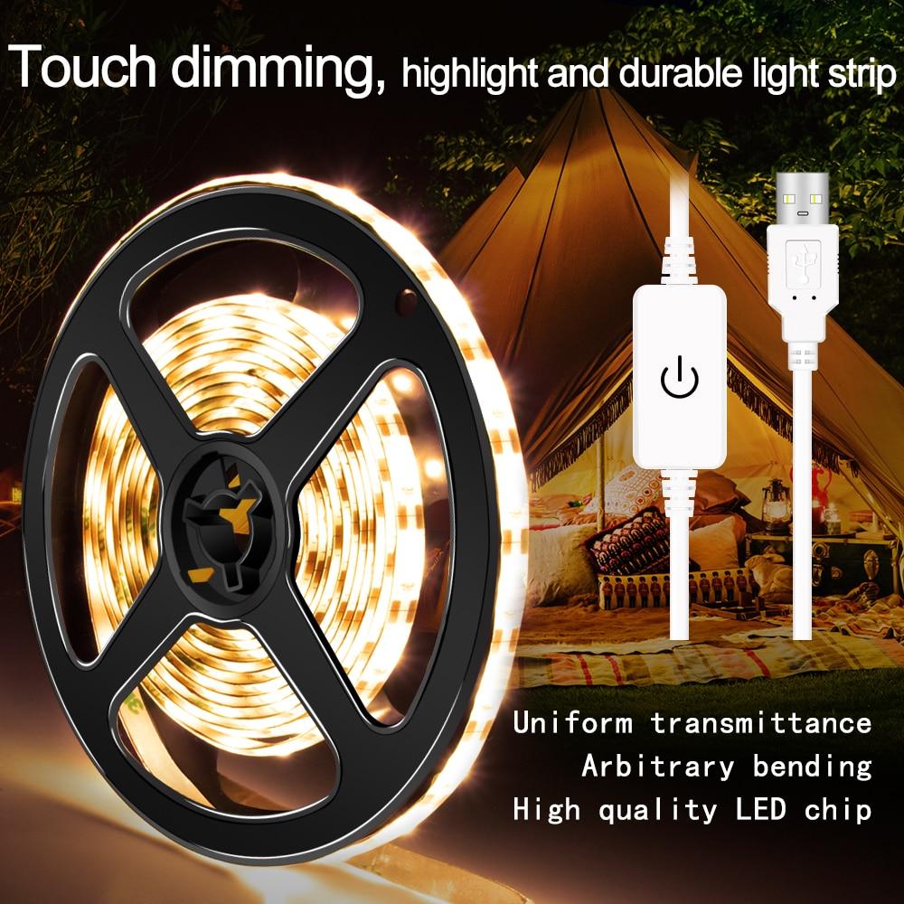 Waterproof LED Strip Light 5V Flexible TV Background Lighting LED Striscia USB Lamp Tape 2835 SMD Dimmable Ribbon 1M 2M 3M 4M 5M in LED Strips from Lights Lighting