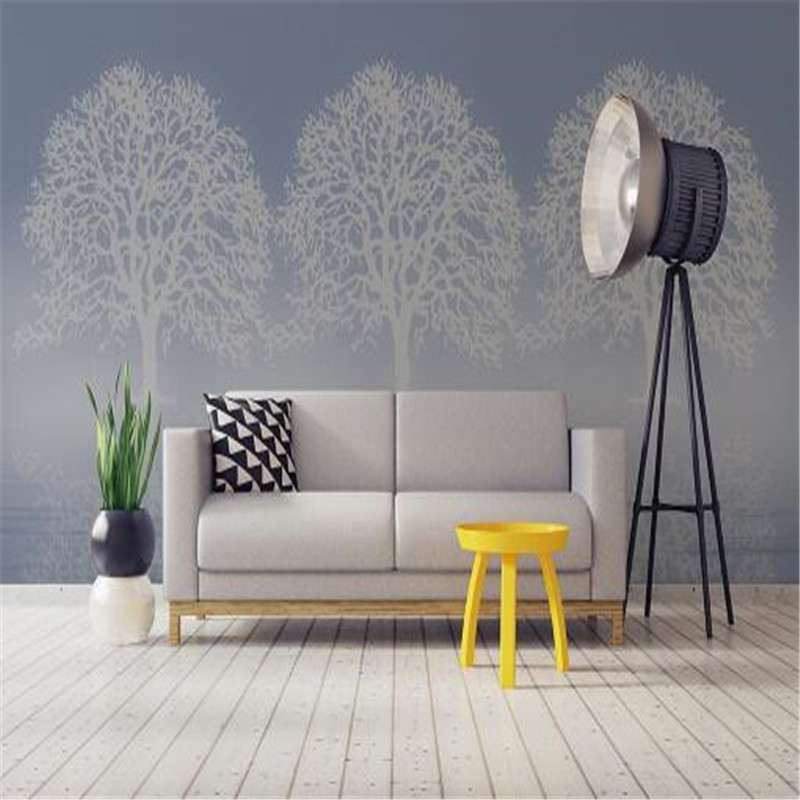 Custom Photo Wallpapers 3D Light Grey White Birch Trees Wall Papers Home Decor Living Room Bedroom Background Wall Murals Modern aiyuqi 2018 spring new genuine leather women shoes shallow mouth casual shoes plus size 41 42 43 mother shoes female page 8