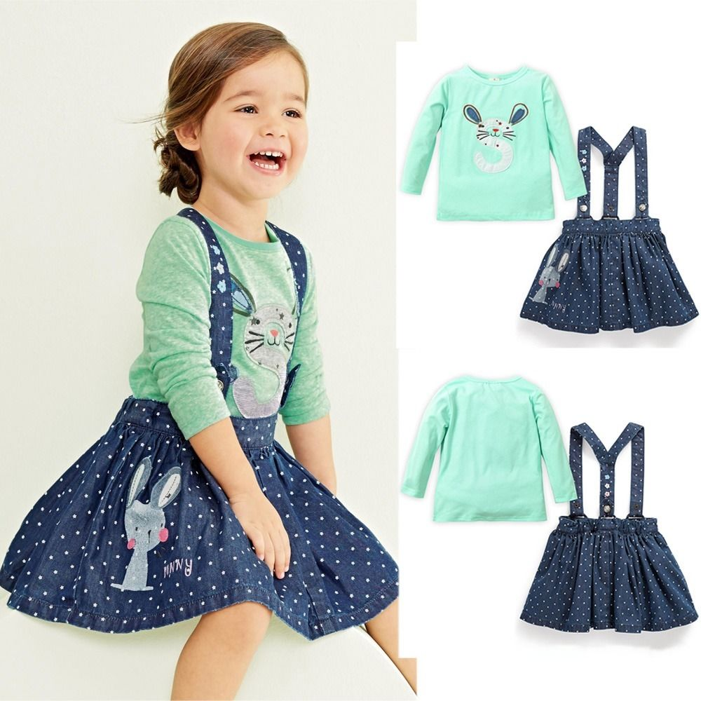 Fashion Cute Baby Girls Kids Rabbit Tops Denim Overalls Dresses Skirts Autumn Warm Outfits Set 6M-5Y UK retail 2014 2pc baby girls kids rabbit tops dot denim overalls dresses outfit clothes children s clothing set suits