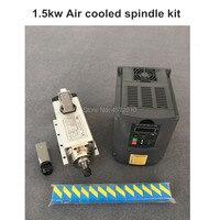 New 1.5kw air cooled spindle motor kit cnc spindle motor + 1.5KW 110v/220v inverter + 1set er11 Square milling machine spindle