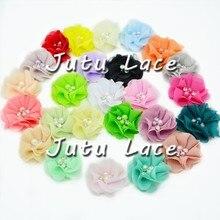 60 шт./лот/партия, 2 ''шифоновый цветок с жемчугом, мини Шифоновый Цветок со стразами Одежда для волос Модные аксессуары галстук