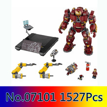 Купить с кэшбэком In Stock 07101 1527Pcs Super Genuine Hero Compatible with  lego 76105 Iron Man Anti Hulk Mech Toy Building Bricks Blocks Model
