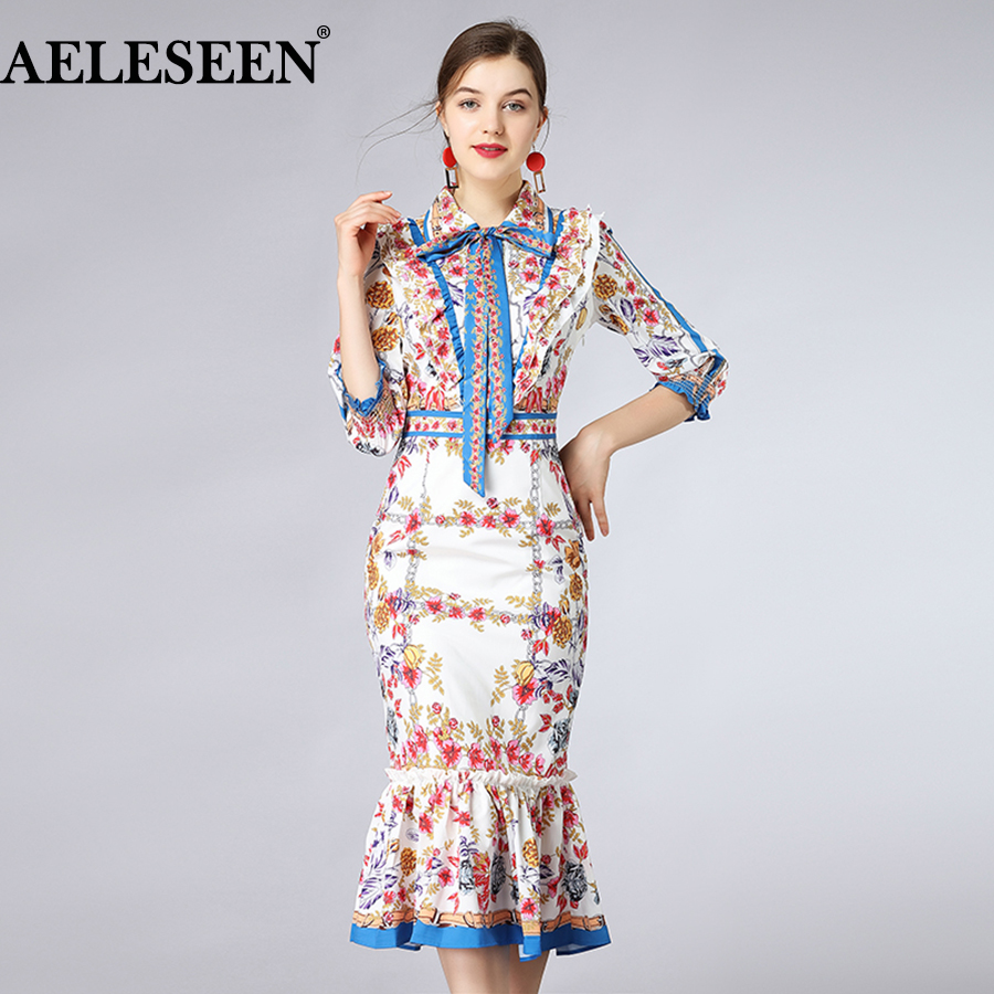 AELESEEN Bodycon Women Fashion Dresses 2018 Summer Career Buteerfly Sleeve Ruffled Mid-Claf Trumpet Floral Print Dress