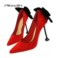Plardin New Thin High Heel Pumps Spring Summer Women High Heels Shallow Butterfly-knot Woman Sexy Party Wedding Ladies Shoes
