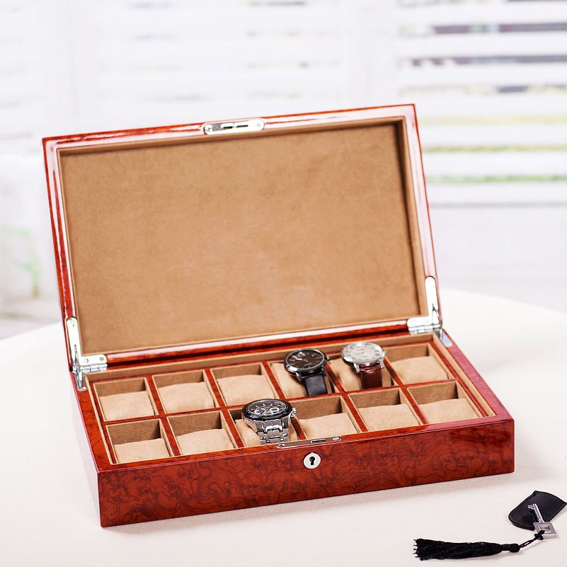 Export Wooden Piano Lacquer Wooden Burr Watch Box Mechanical Watch Box Collection Storage Box Box 12 Epitope