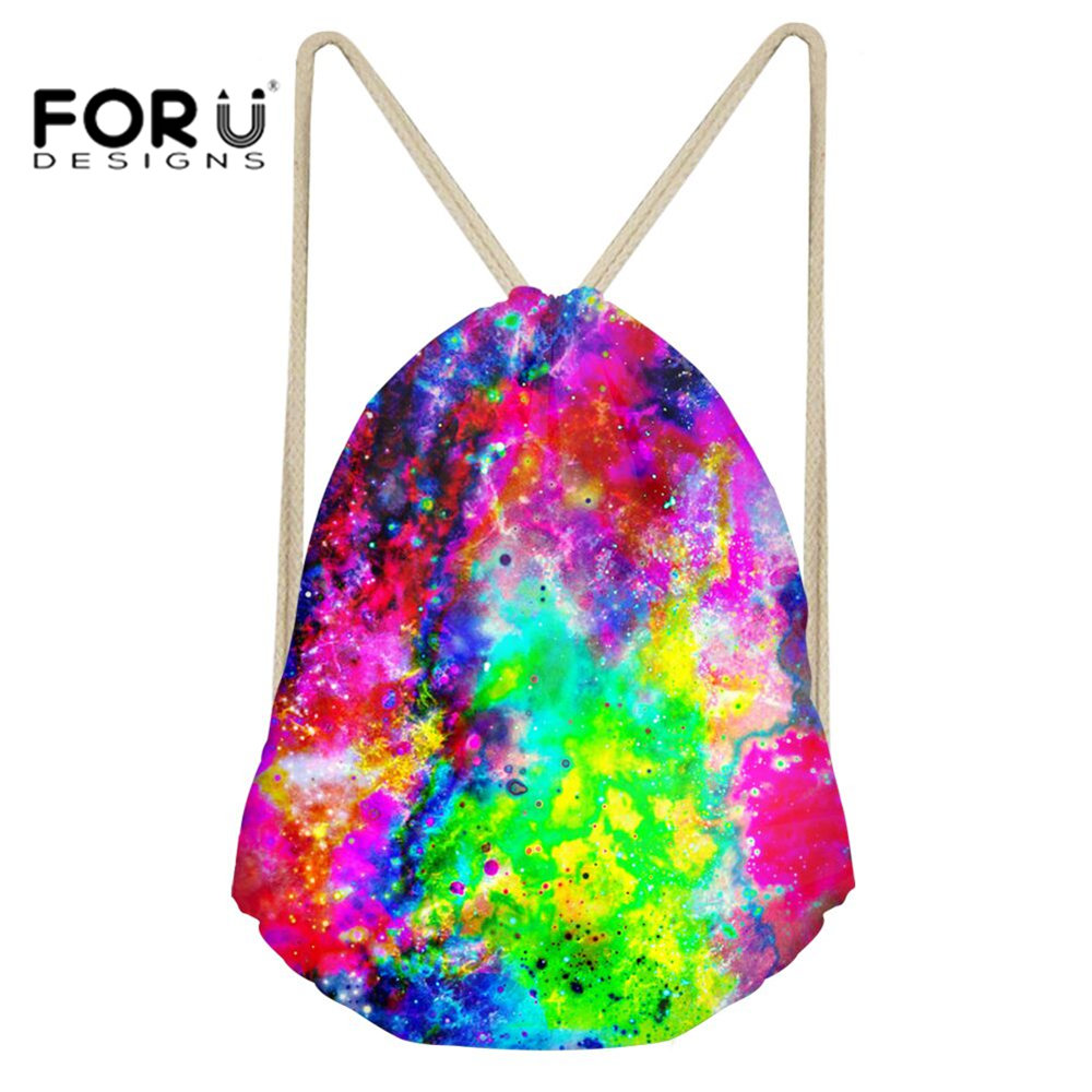 FORUDESIGNS Drawstring Backpack Bag Small Runner Daypack for Children Boys Girls Training Yoga Outdoor Space Printing Gym Sack