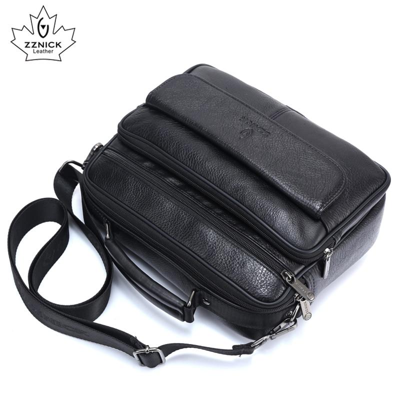 Men's 100% Genuine Cowhide Leather Shoulder Bag Quality Men Messenger Bags  Crossbody Handbag For Men Briecase Bags 2018 ZZNICK