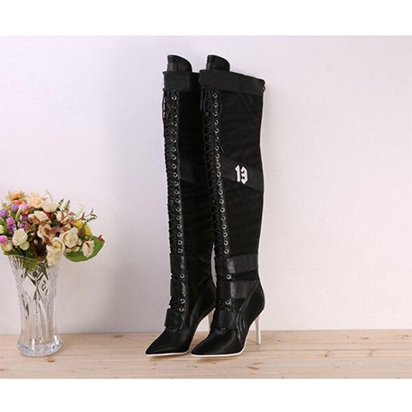 Nieuwe Designer Patchwork Lace Up Dij hoge laarzen voor Vrouwen puntige teen Hoge hakken lederen lange laarzen Over de knie ridder laarzen-in Over de knie laarzen van Schoenen op  Groep 2