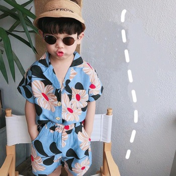2019 Summer Fashion Boys Big Floral Beach Style Soft Clothing Sets Kids Thin Breathable T Shirt + Shorts 2Pcs Suits 1
