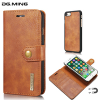 2 In 1 Cowhide Detachable Retro Magnetic Flip Luxury Leather Wallet Case For IPhone 6 6s