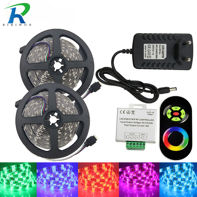 RiRi Won 5M 10m 15m 20m Led Strip SMD5050 Vandtæt Fleksibel LED Lys RGB 5050 LED Diode Tape Ribbon DC 12V + Controller + Power