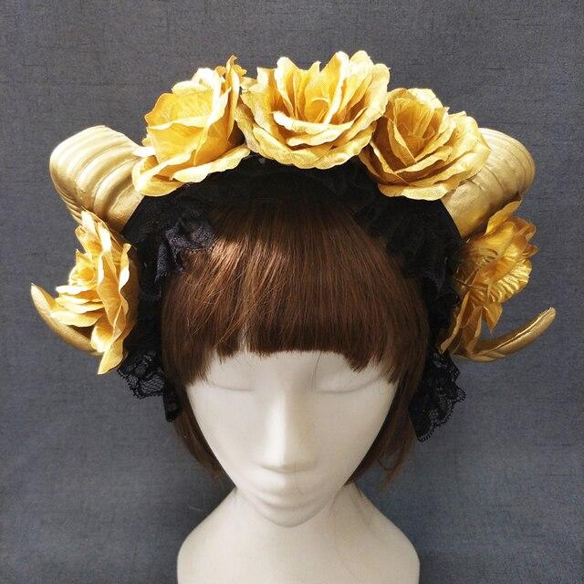 Gothic Horn Headband Steampunk Cosplay Vintage Ram Horns Flowers