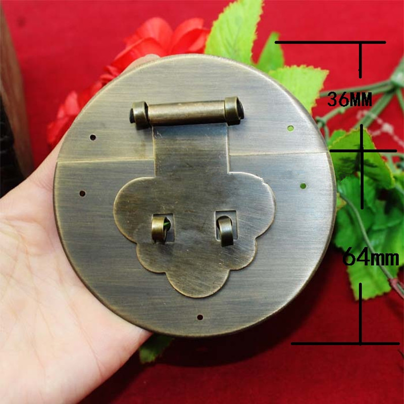 Chinese Brass Box Suitcase Toggle Latch Buckles,Wooden Box Lock,Home DIY,Wood Working,Antique Round Lock,10cm,1PC dongyang woodcarving camphor wood furniture wood carved camphorwood box suitcase box antique calligraphy collection box insect d